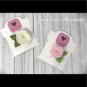 Handmade pink and off white rose hair clips!